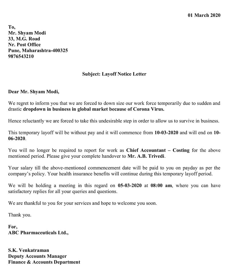Temporary Layoff Notice Letter - Due To Pandemic