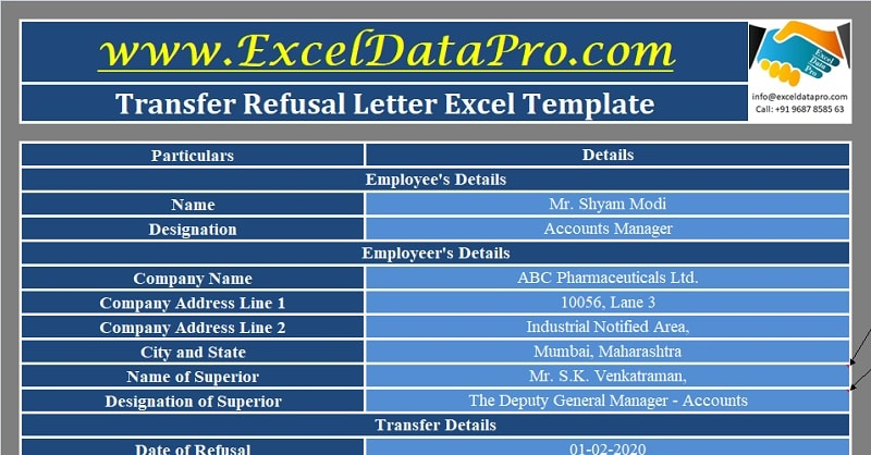 Download Transfer Refusal Letter Excel Template