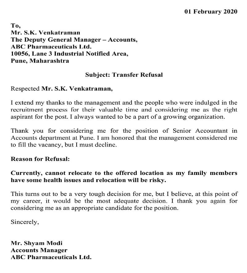 Transfer Refusal Letter - Family Health Condition