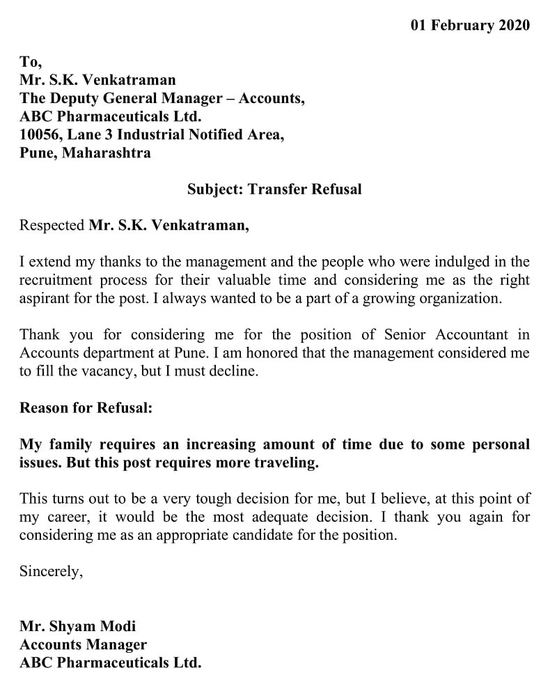Transfer Refusal Letter - Personal Reasons