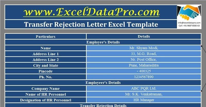 Download Transfer Rejection Letter Excel Template