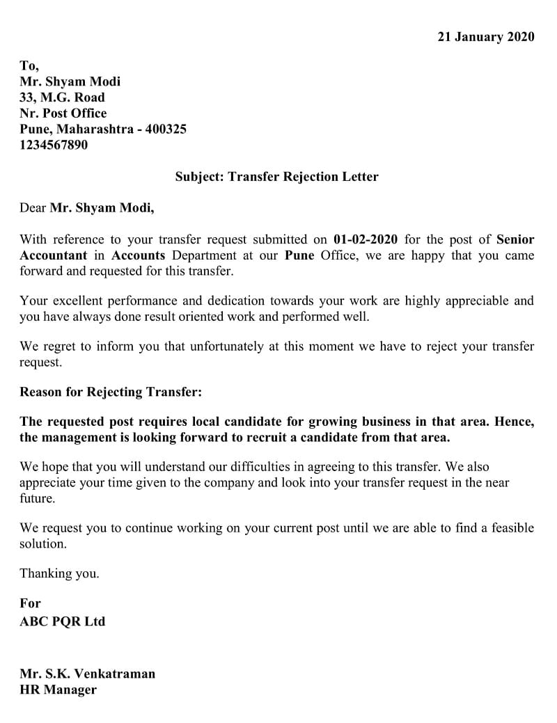 Transfer Rejection Letter - Local Candidate Preferred