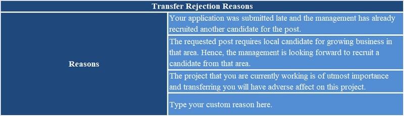 Transfer Rejection Letter