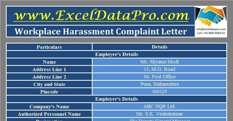 Download Workplace Harassment Complaint Letter Excel Template