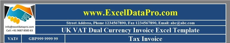 UK VAT Dual Currency Invoice