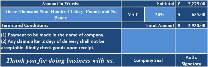 UK VAT Debit Note