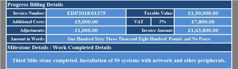 UK VAT Progress Billing Invoice