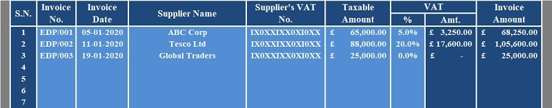 UK VAT Purchase Register