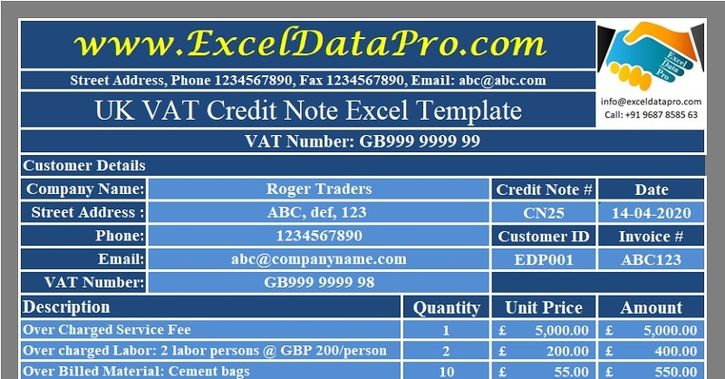Download UK VAT Credit Note Excel Template