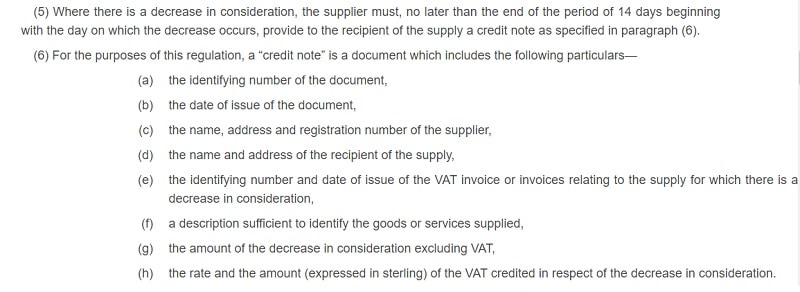 UK VAT Credit Note