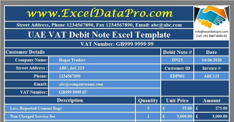 Download UK VAT Debit Note Excel Template