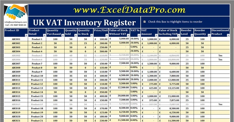 Download UK VAT Inventory Register Excel Template