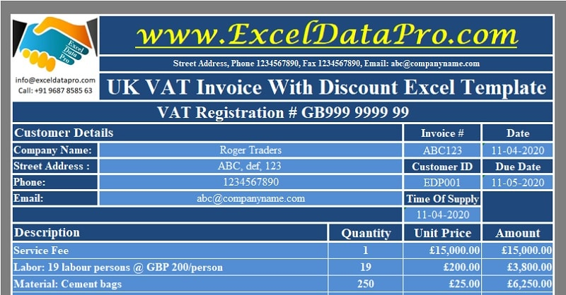 Download UK VAT Invoice With Discount Excel Template