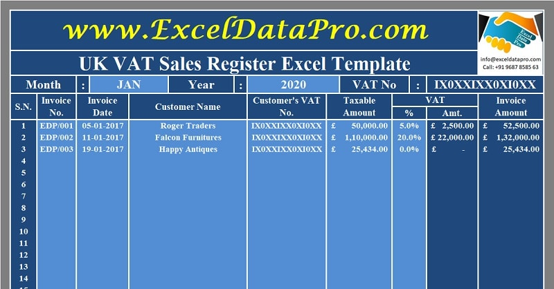 Download UK VAT Sales Register Excel Template
