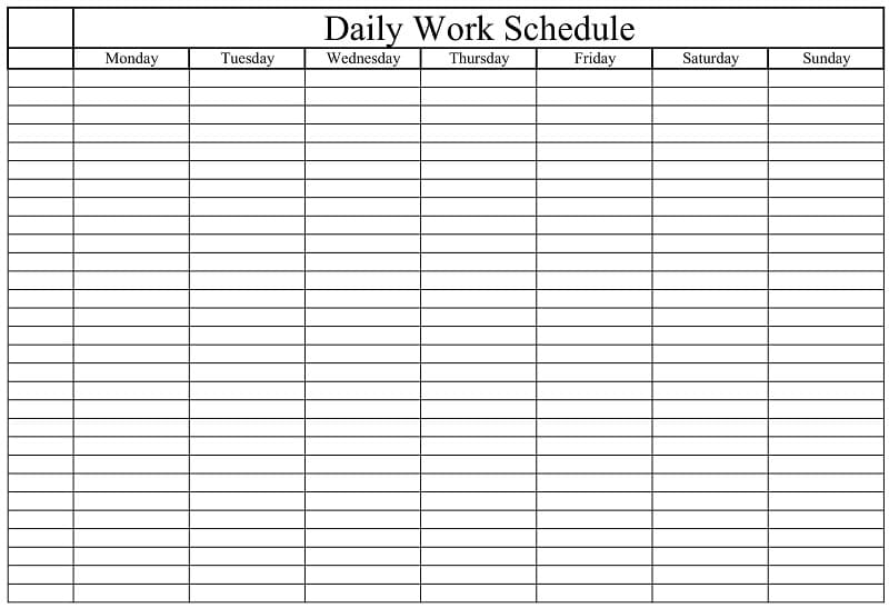 Daily Work Schedule